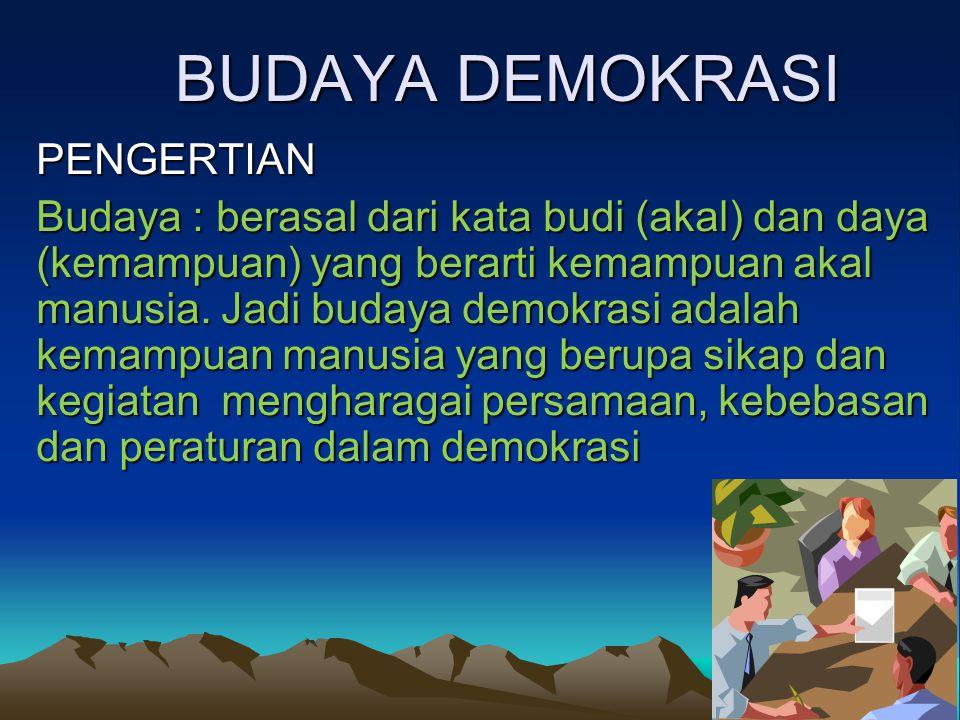 BUDAYA DEMOKRASI PENGERTIAN