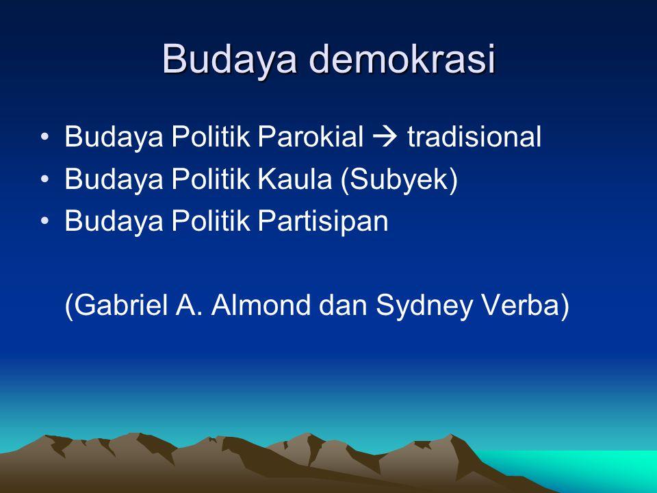 Budaya demokrasi Budaya Politik Parokial  tradisional