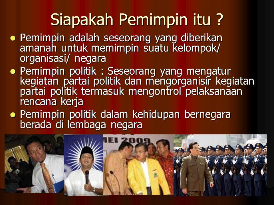 Siapakah Pemimpin itu Pemimpin adalah seseorang yang diberikan amanah untuk memimpin suatu kelompok/ organisasi/ negara.