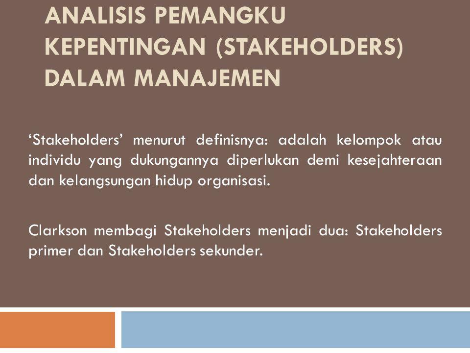 Analisis Pemangku Kepentingan (Stakeholders) Dalam Manajemen
