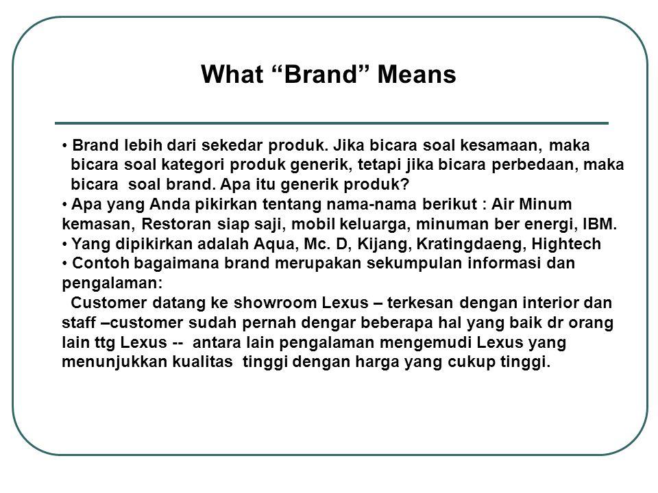 What Brand Means Brand lebih dari sekedar produk. Jika bicara soal kesamaan, maka.