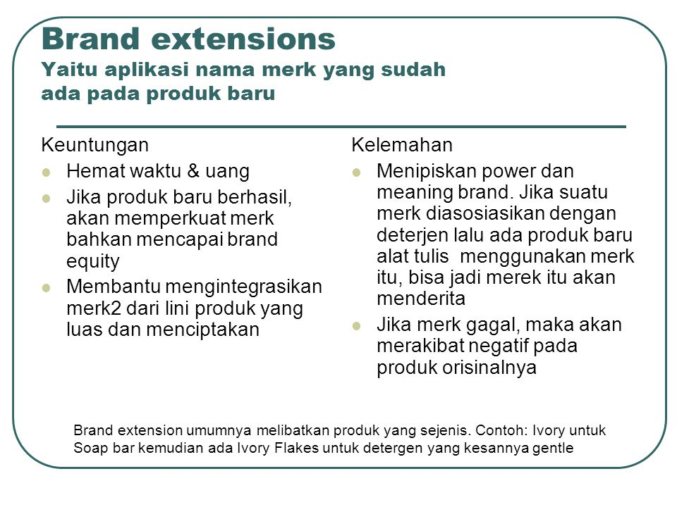 Brand extensions Yaitu aplikasi nama merk yang sudah ada pada produk baru