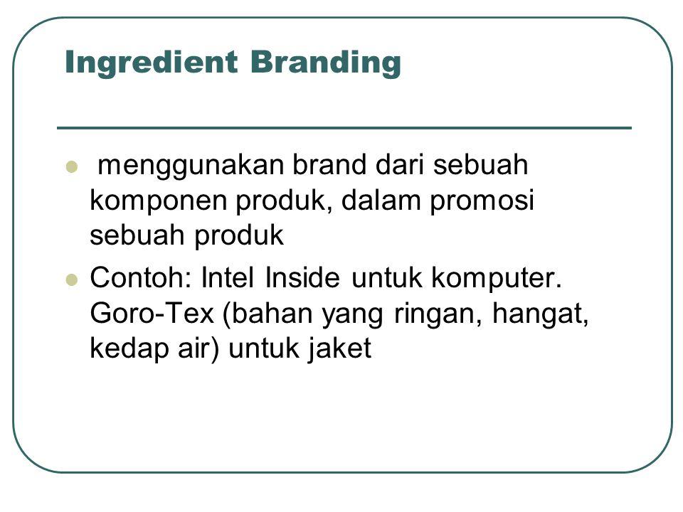 Ingredient Branding menggunakan brand dari sebuah komponen produk, dalam promosi sebuah produk.