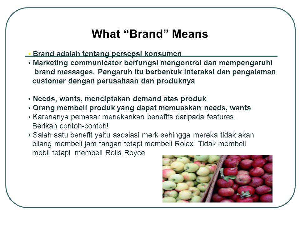 What Brand Means Brand adalah tentang persepsi konsumen