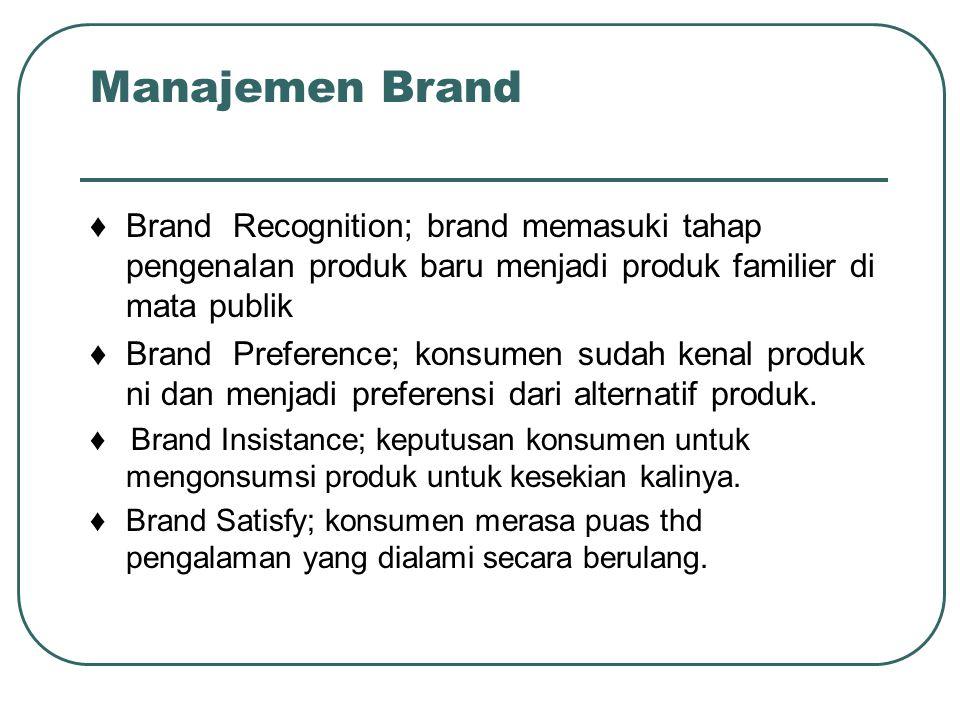 Manajemen Brand ♦ Brand Recognition; brand memasuki tahap pengenalan produk baru menjadi produk familier di mata publik.