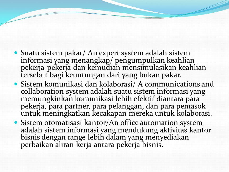 Suatu sistem pakar/ An expert system adalah sistem informasi yang menangkap/ pengumpulkan keahlian pekerja-pekerja dan kemudian mensimulasikan keahlian tersebut bagi keuntungan dari yang bukan pakar.