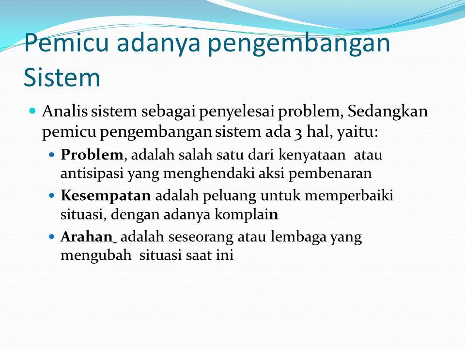 Pemicu adanya pengembangan Sistem
