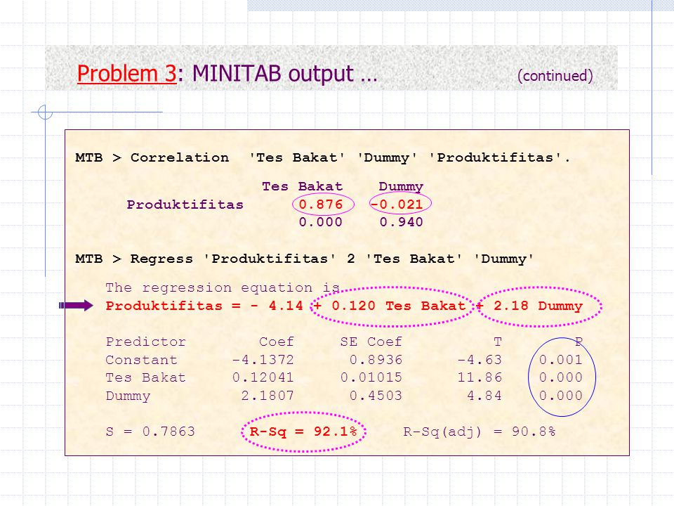 Problem 3: MINITAB output … (continued)