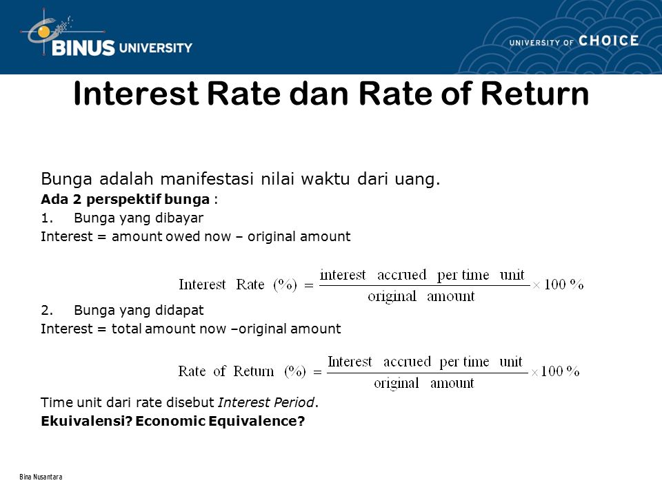 Interest Rate dan Rate of Return