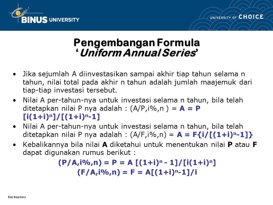 Pengembangan Formula 'Uniform Annual Series'