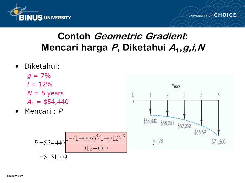 Contoh Geometric Gradient: Mencari harga P, Diketahui A1,g,i,N