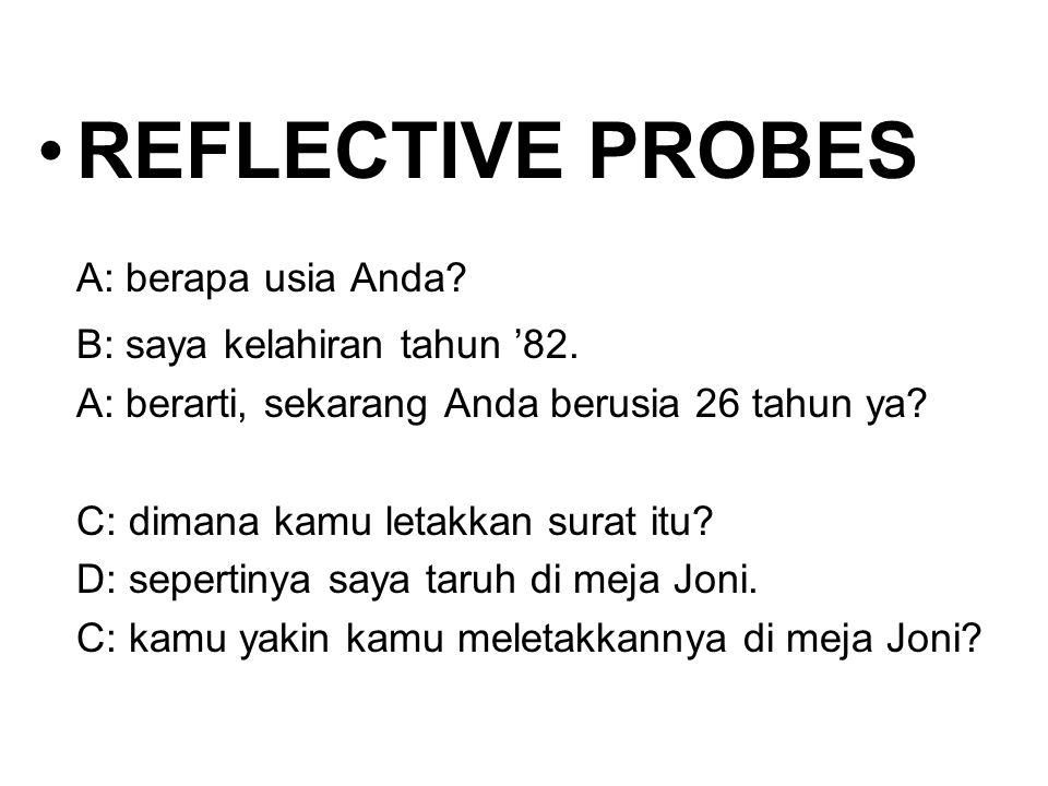 REFLECTIVE PROBES A: berapa usia Anda B: saya kelahiran tahun '82.