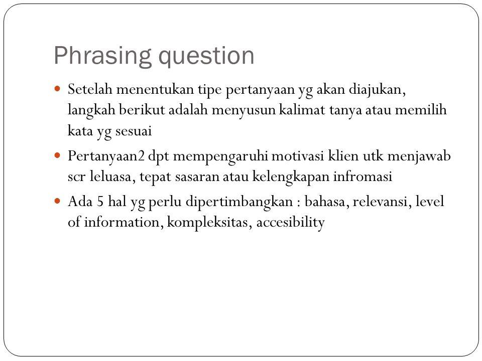 Phrasing question Setelah menentukan tipe pertanyaan yg akan diajukan, langkah berikut adalah menyusun kalimat tanya atau memilih kata yg sesuai.