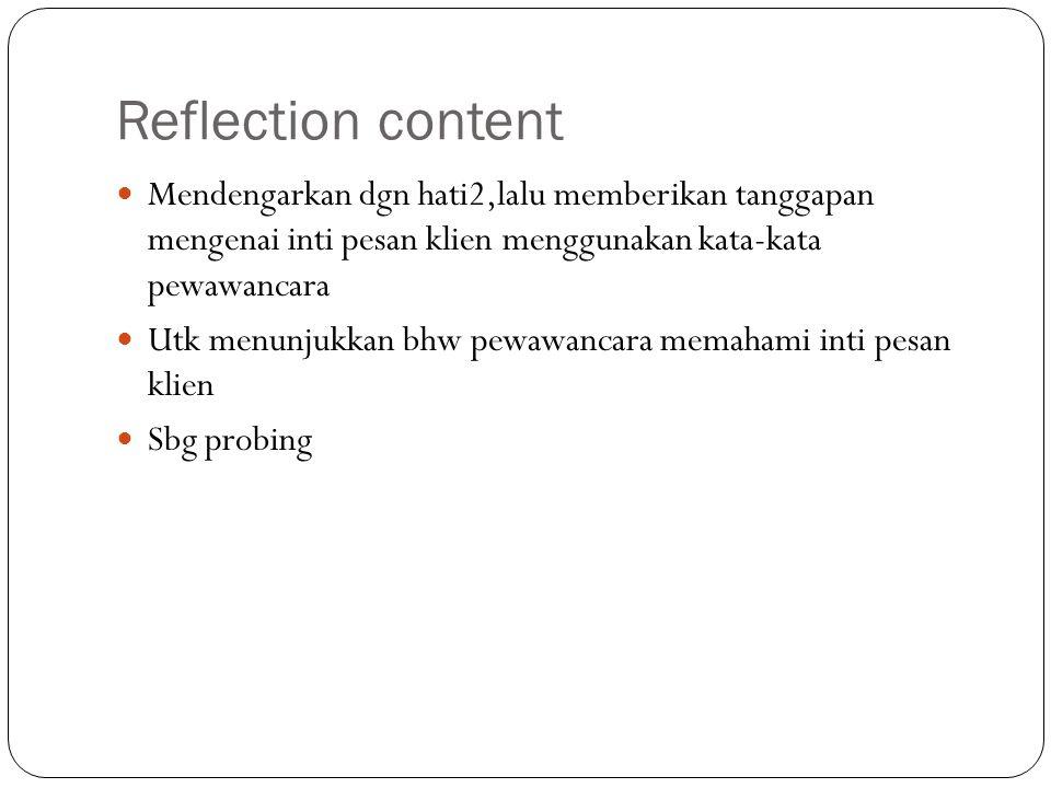 Reflection content Mendengarkan dgn hati2,lalu memberikan tanggapan mengenai inti pesan klien menggunakan kata-kata pewawancara.