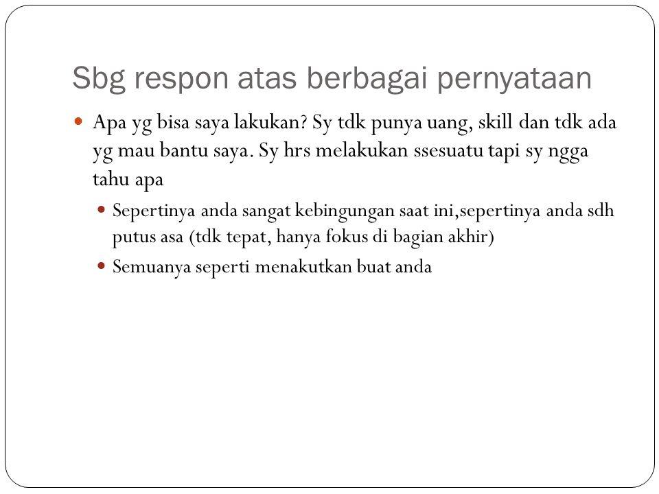 Sbg respon atas berbagai pernyataan