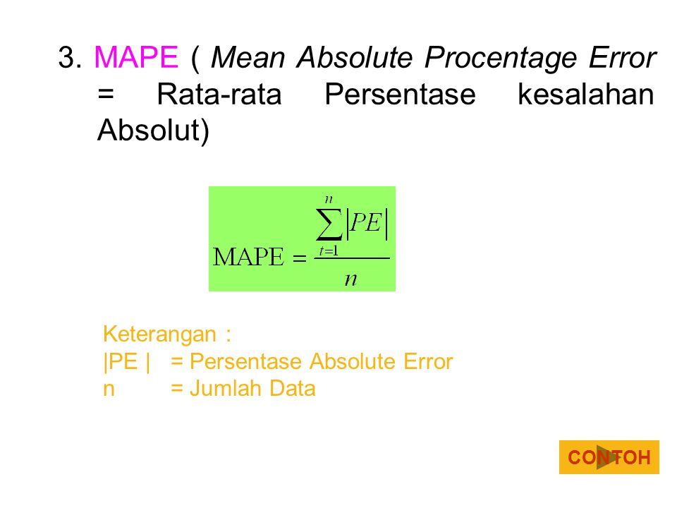 3. MAPE ( Mean Absolute Procentage Error = Rata-rata Persentase kesalahan Absolut)