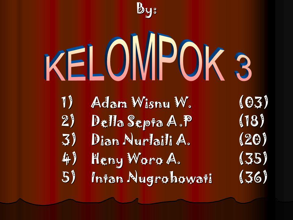 KELOMPOK 3 By: 1) Adam Wisnu W. (03) 2) Della Septa A .P (18)