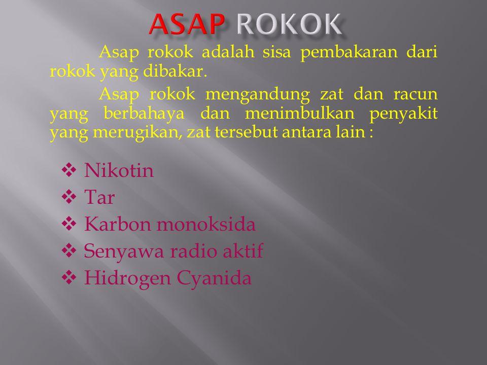 ASAP ROKOK Nikotin Tar Karbon monoksida Senyawa radio aktif