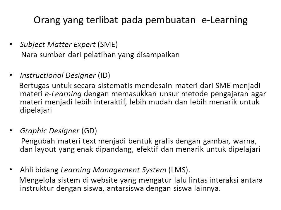 Orang yang terlibat pada pembuatan e-Learning
