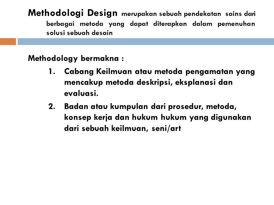 Methodologi Design merupakan sebuah pendekatan sains dari berbagai metoda yang dapat diterapkan dalam pemenuhan solusi sebuah desain