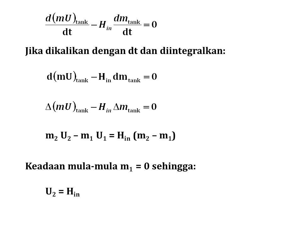 Jika dikalikan dengan dt dan diintegralkan: