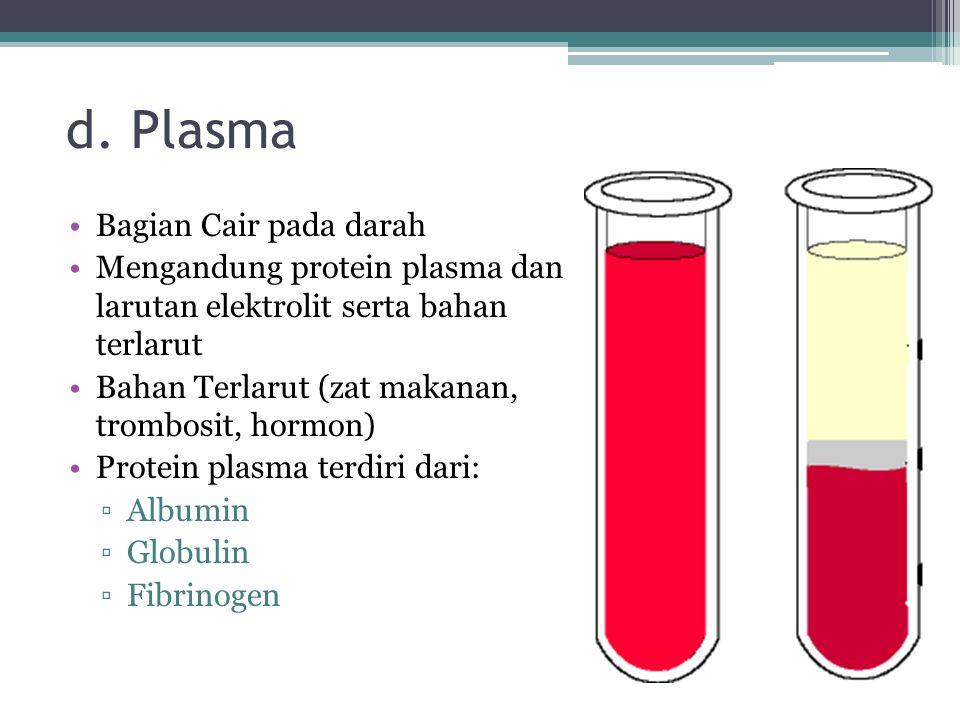 d. Plasma Bagian Cair pada darah