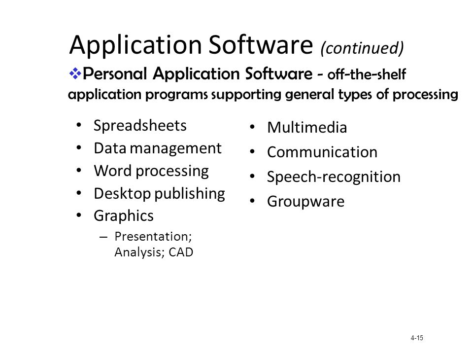 Application Software (continued)