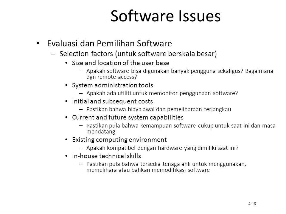 Software Issues Evaluasi dan Pemilihan Software