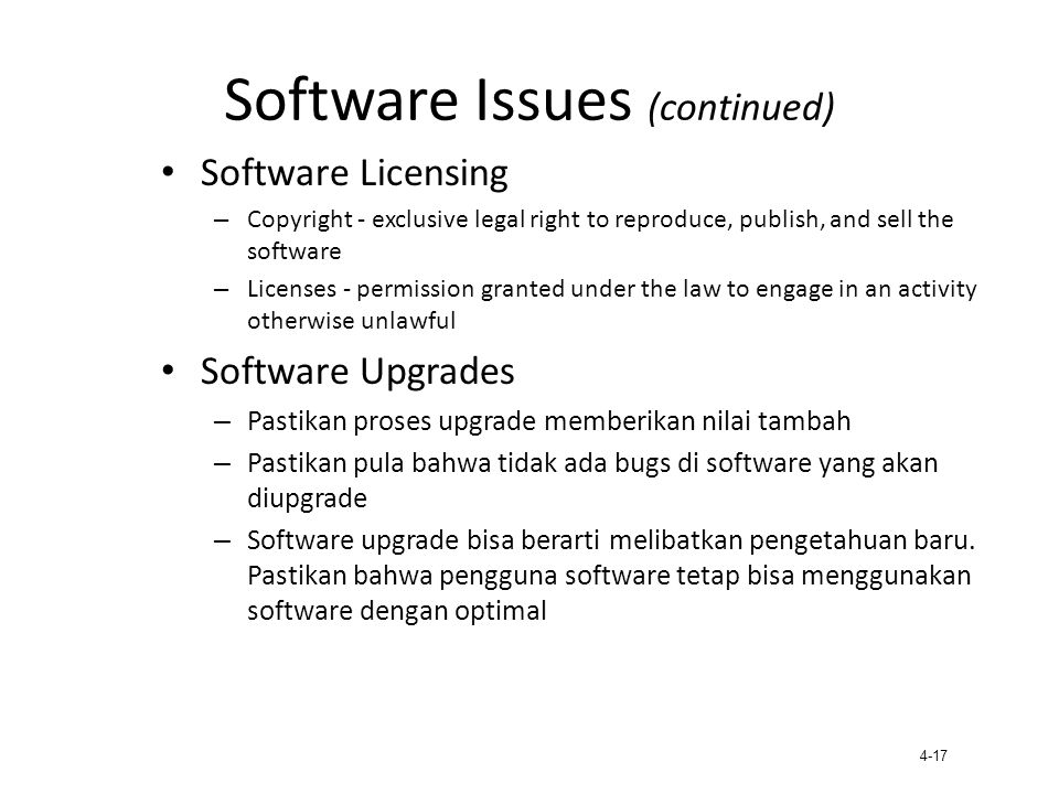 Software Issues (continued)