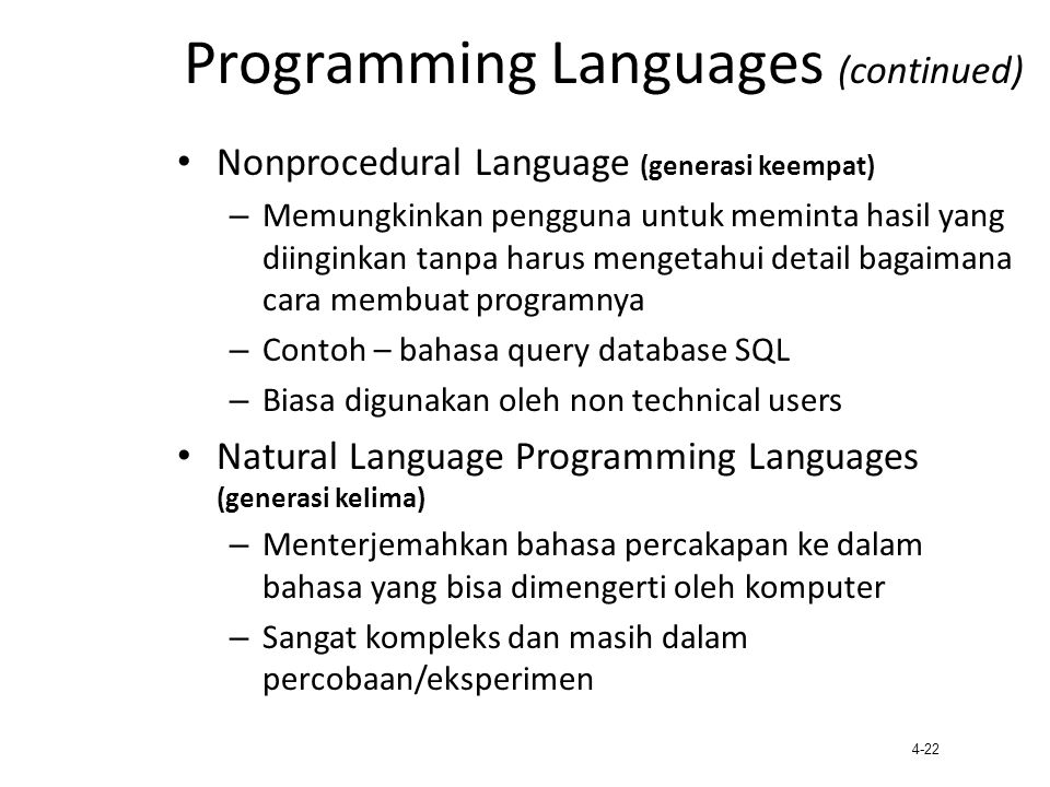 Programming Languages (continued)