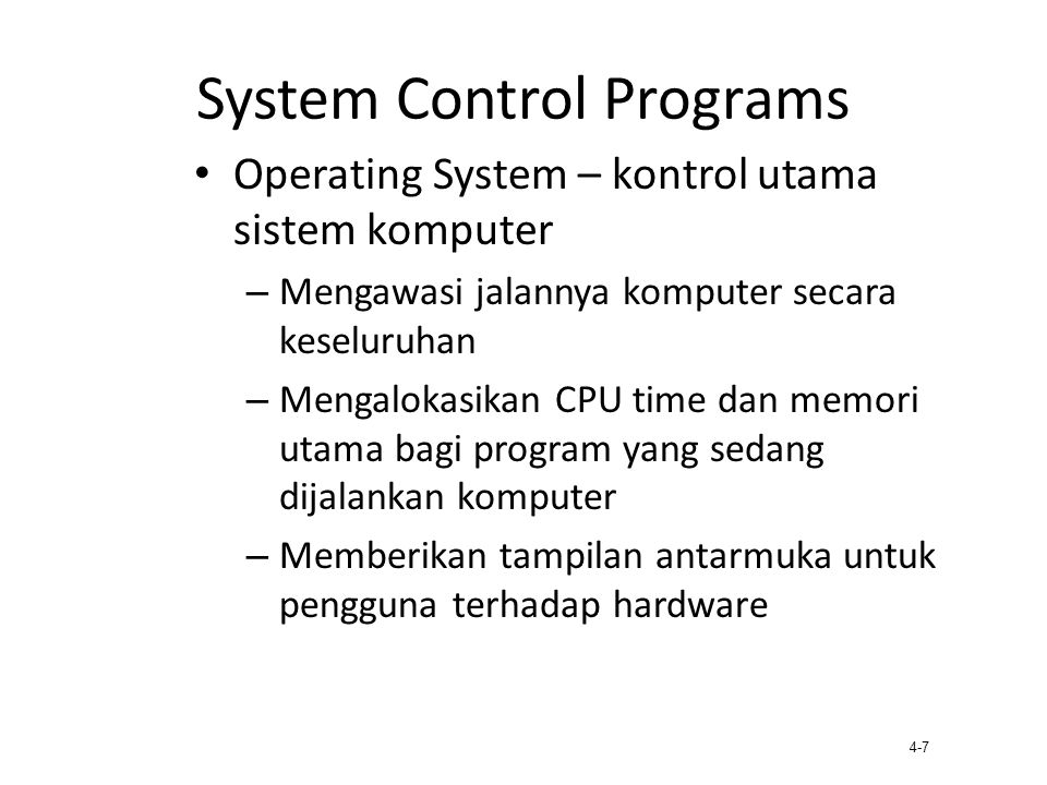 System Control Programs