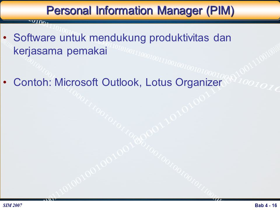 Personal Information Manager (PIM)