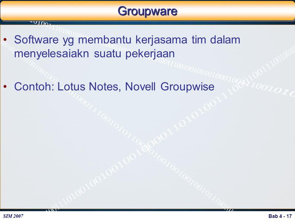 Groupware Software yg membantu kerjasama tim dalam menyelesaiakn suatu pekerjaan.