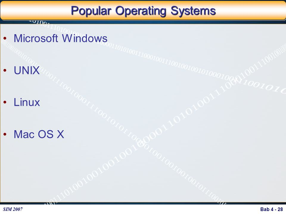Popular Operating Systems