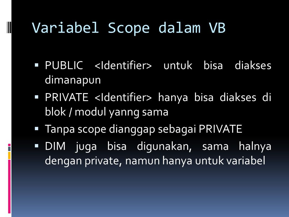 Variabel Scope dalam VB