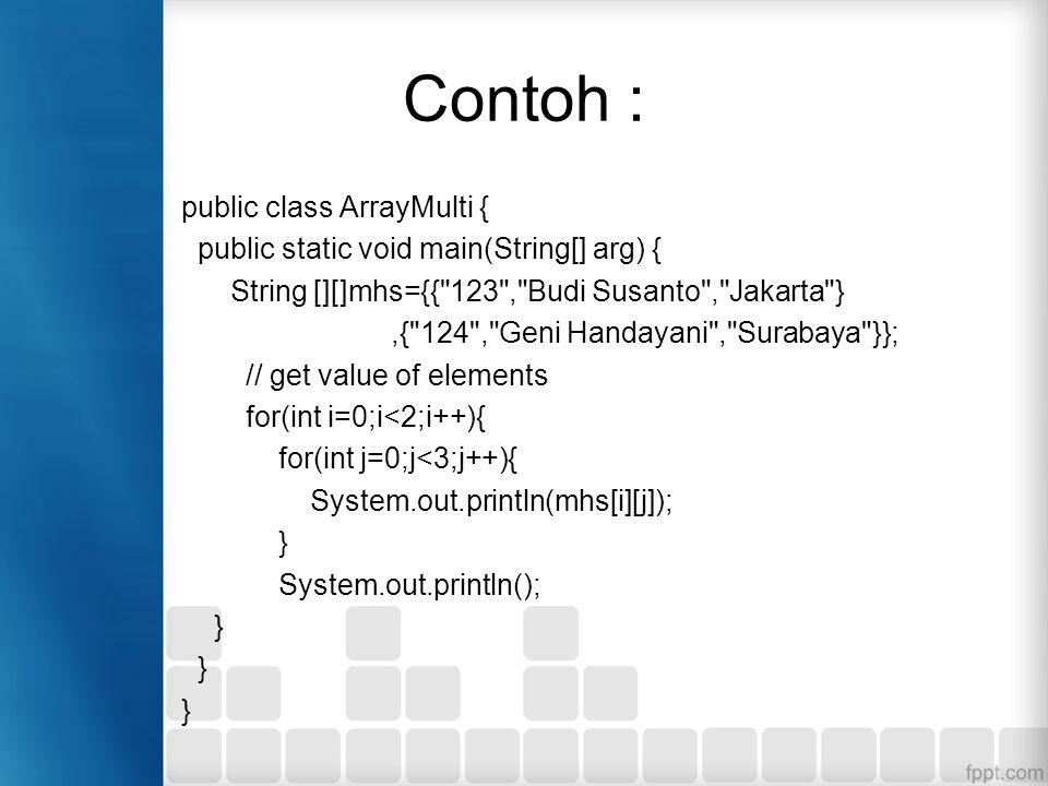 Contoh : public class ArrayMulti {