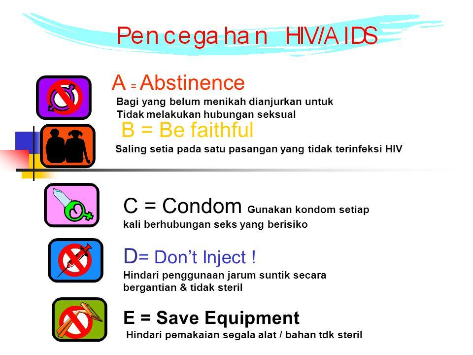A = Abstinence Bagi yang belum menikah dianjurkan untuk. Tidak melakukan hubungan seksual.