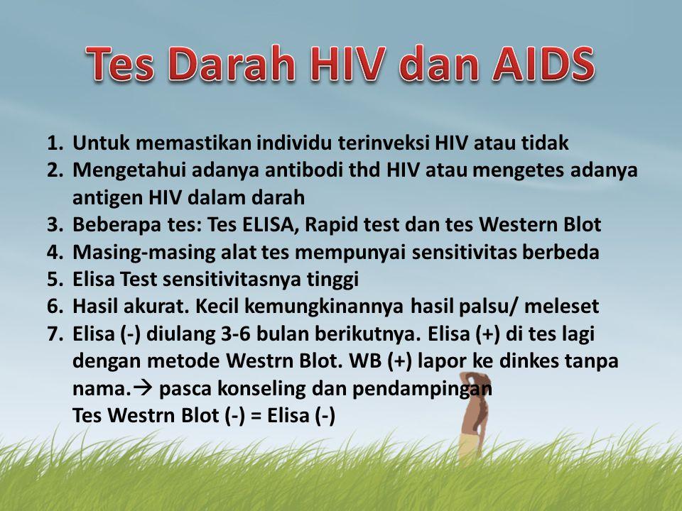 Tes Darah HIV dan AIDS Untuk memastikan individu terinveksi HIV atau tidak.