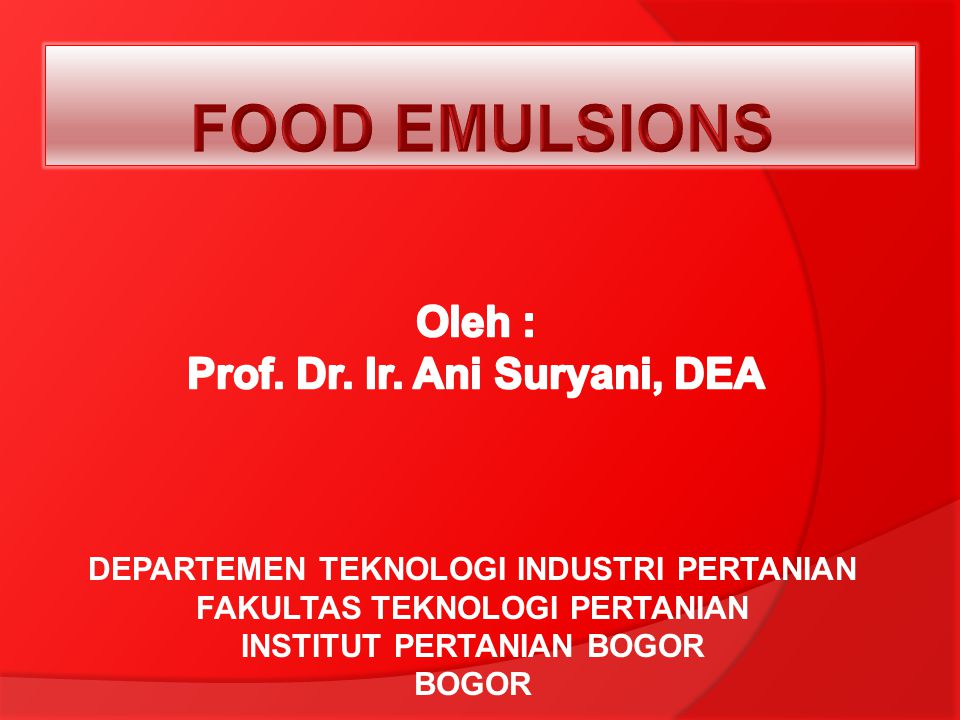 Oleh : Prof. Dr. Ir. Ani Suryani, DEA