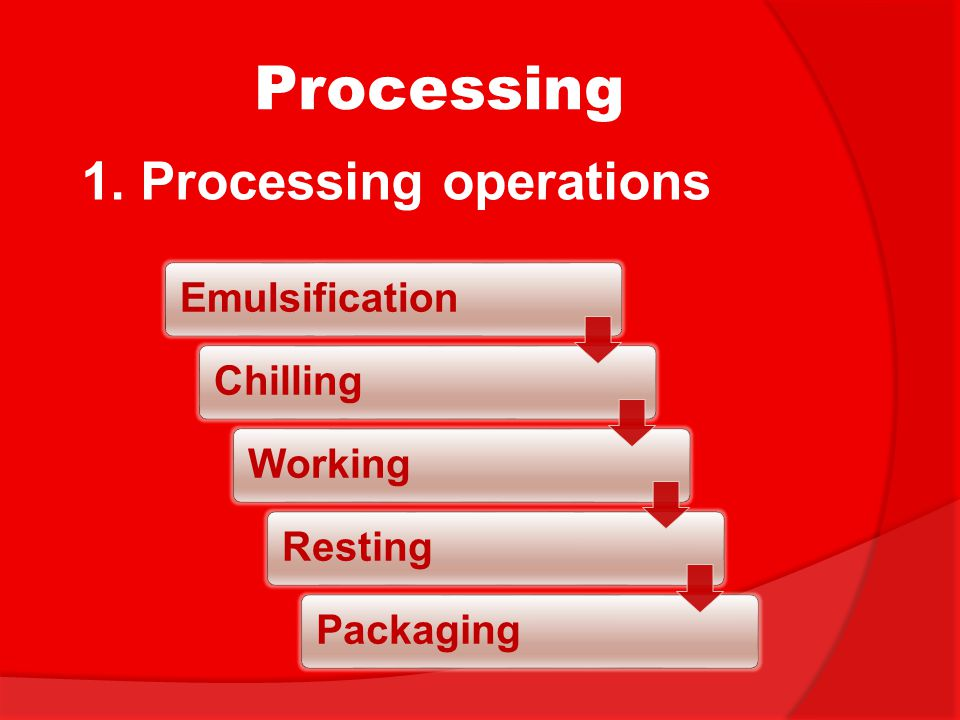 Processing 1. Processing operations Emulsification Chilling Working