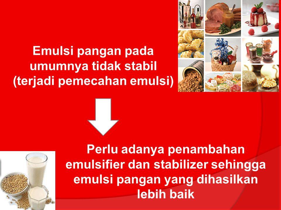 Emulsi pangan pada umumnya tidak stabil (terjadi pemecahan emulsi)
