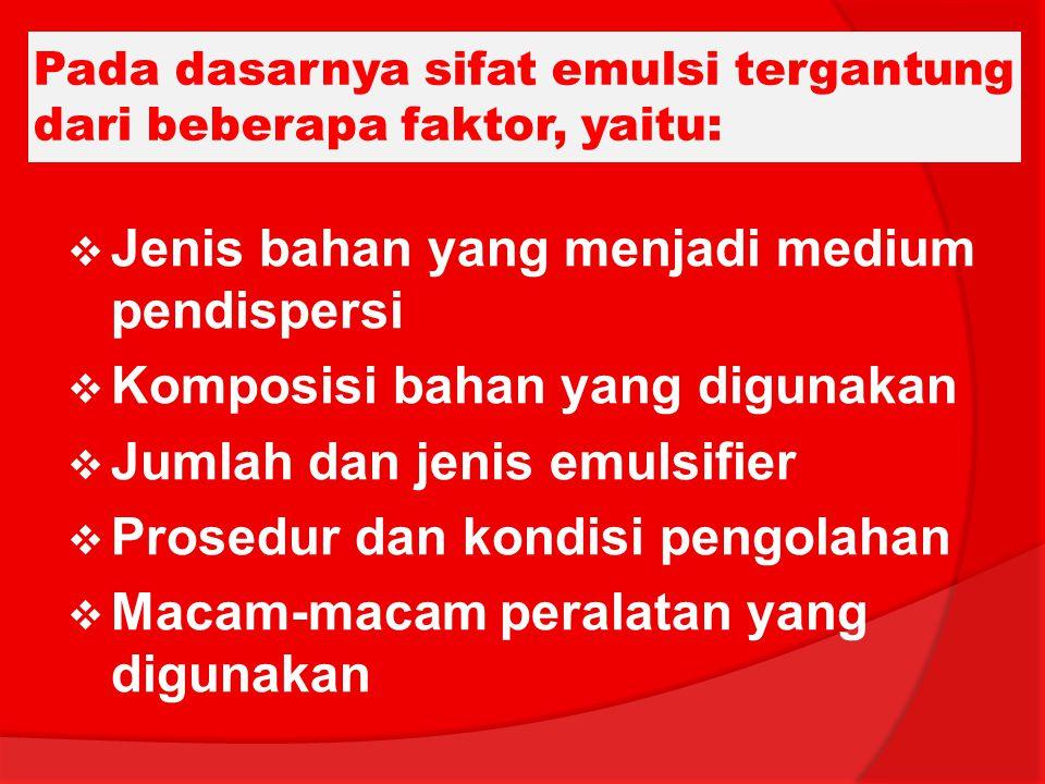 Pada dasarnya sifat emulsi tergantung dari beberapa faktor, yaitu: