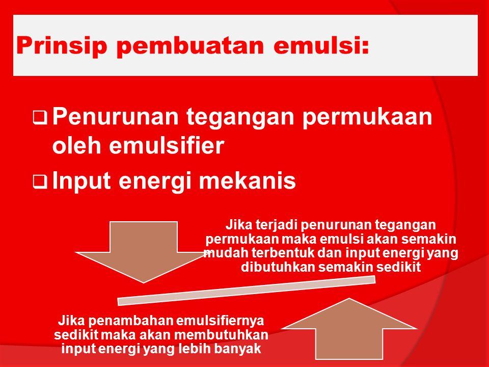 Prinsip pembuatan emulsi: