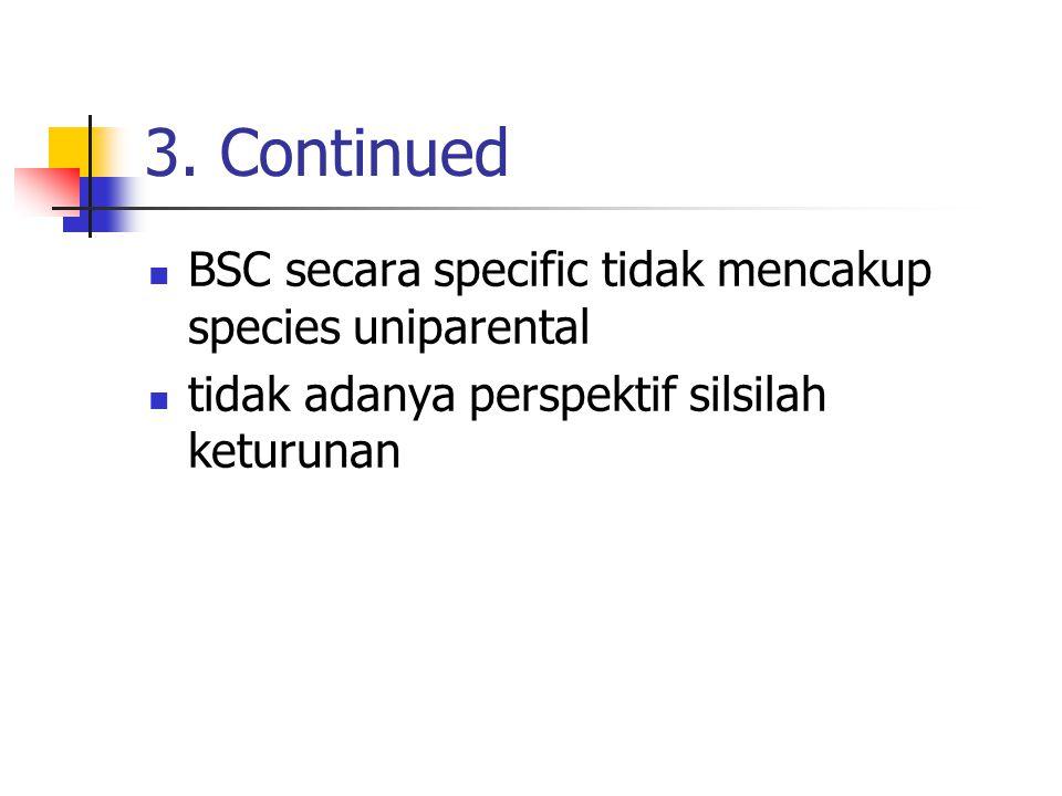 3. Continued BSC secara specific tidak mencakup species uniparental