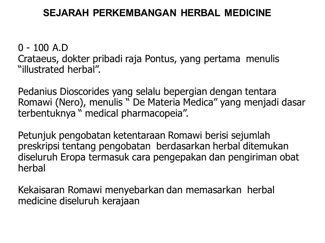 SEJARAH PERKEMBANGAN HERBAL MEDICINE