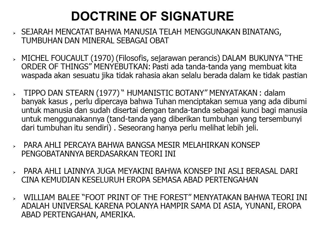 DOCTRINE OF SIGNATURE SEJARAH MENCATAT BAHWA MANUSIA TELAH MENGGUNAKAN BINATANG, TUMBUHAN DAN MINERAL SEBAGAI OBAT.