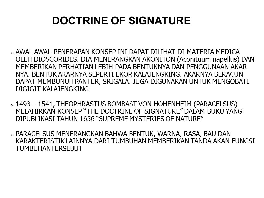 DOCTRINE OF SIGNATURE