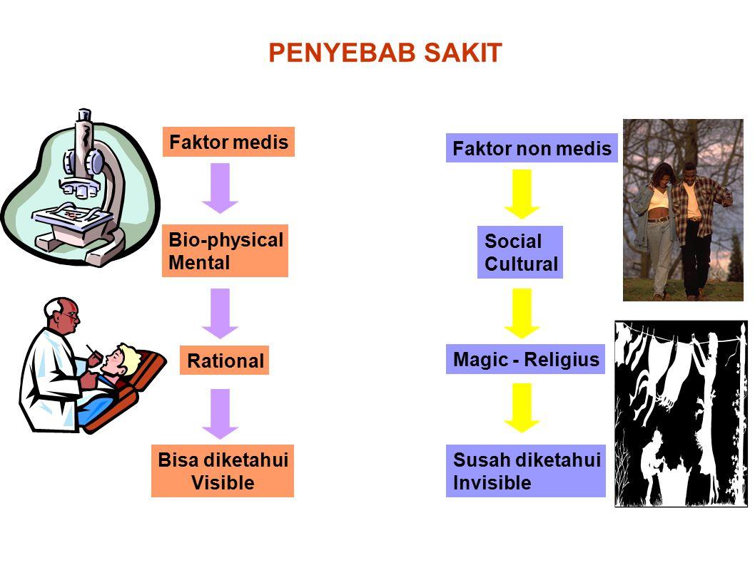PENYEBAB SAKIT Faktor medis Faktor non medis Bio-physical Mental