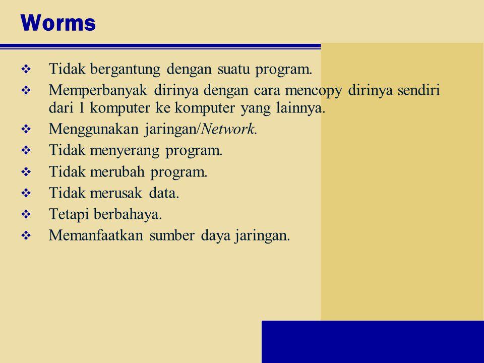 Worms Tidak bergantung dengan suatu program.