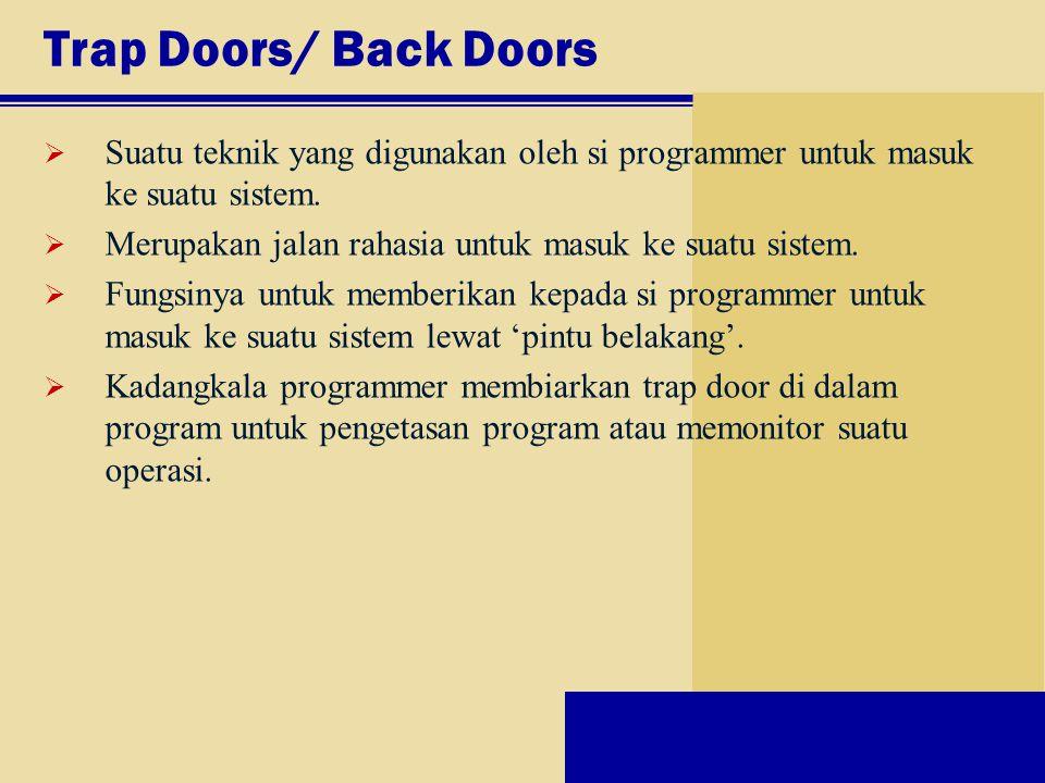 Trap Doors/ Back Doors Suatu teknik yang digunakan oleh si programmer untuk masuk ke suatu sistem.